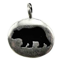 """Bear Animal Spirit Guide Pendant NEW 1"""" Pewter Amulet on Card w/ Cord US Made"""