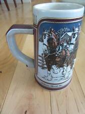 TRADITIONAL BUDWEISER 1989 TALL CHRISTMAS BEER STEIN MUG CLYDESDALE HORSES