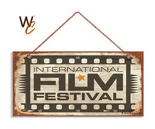 International Film Festival Sign, Retro CINEMA Sign, Move Room 5x10 Wood Sign