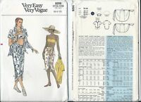 Vogue 9298 sewing pattern Fab SHIRT Bandeau BRA chic SKIRT sizes 6-8-10 sew EASY