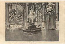 Stampa antica AGLIE' Castello Sala di Arduino Torino 1885 Old antique print