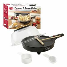 """Quest 2 in 1 Popcorn and Crepe Maker 800watt 8"""" Wide Plate Non-stick Electrical"""