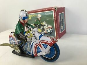 Vintage Schylling Motorcycle Racer Wind-Up Tin Toy With Box
