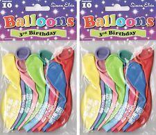 20 X Los 3 Años Feliz Cumpleaños Globos Multi Colores airfill Fiesta Decoración