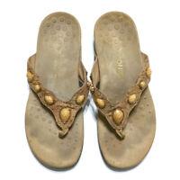 d675a51ccb2af2 Vionic Cork Embellished Thong Sandals Flip Flops Orthaheel Eve II Size 10  Brown