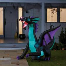 6' Inflatable LED Light Up Ice Blue Dragon with Skull Medallion Halloween Decor