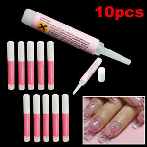 10X Nail Tip Glue Super Bond For Acrylic Nails Strong Adhesive Manicure Tool US