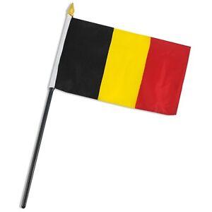 "Belgium 4""x6"" Flag Desk Table Stick (sewn edges)"