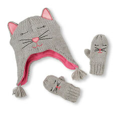 Toddler Girls Shimmery Kitty Hat And Mittens Set size M (2T-3T)