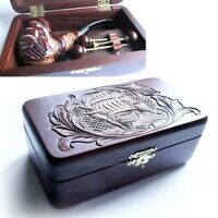 SET Smoking Tobacco carved pipe SHIP in wooden Box + cleaning Tools accessories