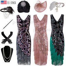 Vintage 1920s Flapper Gatsby Cocktail Dress Layered Tassel Wedding Party Dresses