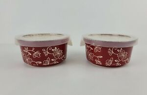 Temp-tations Ovenware By Tara Floral Lace Red 6 Oz Dish Plastic Covers Lot Of 2