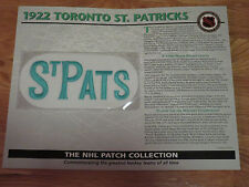 "1922 TORONTO ST. PATRICKS Replica 7"" Patch STANLEY CUP"