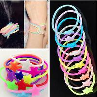 Bulk 10pcs Luminous Neon Silicone Gummy Loom Rubber Hair band Wristband Bracelet