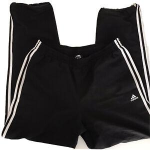 Adidas Mens Black Track Pants Nylon Pockets Three Stripes Size L
