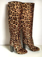 NEW DOLCE & GABBANA Leopard Pony Hair Studded Leather Boots  EU 39.5 US 9M