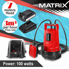 Matrix 20V Cordless Submersible Water Pump Kit With Float Switch Battery Charger