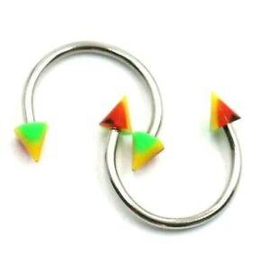 5 pcs set Bright Hues Conic Ends Circular Barbells for Multiple Piercing Sites