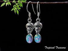 Synthetic Opal & 925 SOLID Silver Earrings    #48574