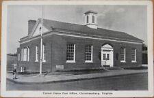 Christiansburg, VA 1940 Postcard: US Post Office Building - Virginia