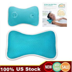 US Anti-Slip Bathtub Pillow Spa Bath Cushion Head Neck Rest Relax & Suction Cup