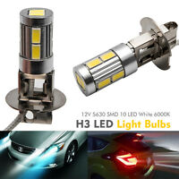 2x H3 12V  Blanc 6000K XENON Lampe Phare Voiture De Lumière SMD 10 LED Ampoule