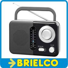 "RADIO PORTATIL AM-FM ANALOGICA NEGRA ASA ALTAVOZ 3"" JACK 3.5MM CABLE RED BD5316"