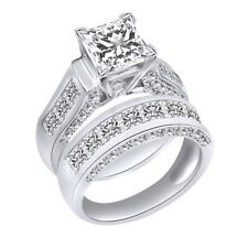 White Gold Over 925 Sterling Silver Cubic Zirconia Wedding Bridal Ring Set 14k
