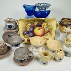 15 Piece Assortment Lot Oversized Dollhouse Pottery Porcelain And Glass For Sale