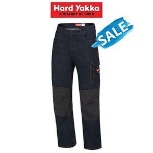 SALE! Hard Yakka Legends Denim Work Jeans Cargo Pants Heavy Duty Cordura Y03041