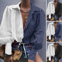 ZANZEA Womens Collared Long Sleeve Button Down Shirt Tops Striped Casual Blouses