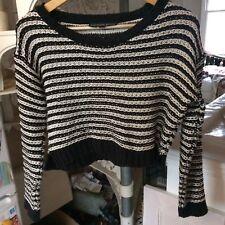 Topshop Cropped Wool Jumper Breton Striped Navy Black White 12 14