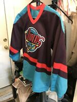 DETROIT VIPERS Vintage 90s STARTER Hockey Bauer Jersey Minor League Sz Boy L/XL