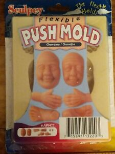 Sculpey Push Mold - Grandma and Grandpa Doll face Hands Polymer Clay
