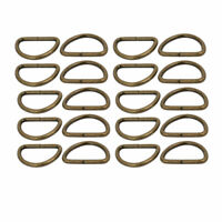 25mm Inner Width Metal Half Round Shaped Non Welded D Ring Bronze Tone 20pcs