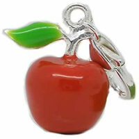 Clip on Red Apple Charm for European Jewelry w/ Lobster Clasp