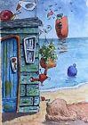ACEO Contemporary Original Watercolour Painting Beach Hut~Dog~Cat~Crab~Snail