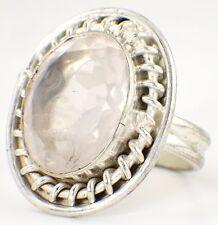 VINTAGE IN STERLING 925 Argento & Crystal Ring-rosa di cristallo sfaccettato 1980s