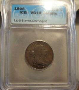1806 Draped Bust Half Cent Large 6 with Stems IGC VG 10 Details rotated die