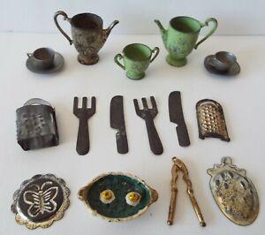Cracker Jack 1920 Metal Kitchen Items Vintage Tea Set, Utensils & More Lot of 17