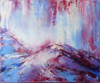 """Peinture Paysage Expressionnisme abstrait Tableau signé HZEN """"LA DÉVALÉE"""" 46x38"""