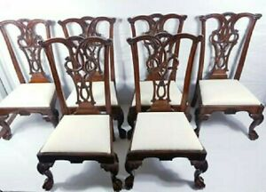 Set of 6 Antique Mahogany Chippendale Style Dining Chairs Single Claw feet