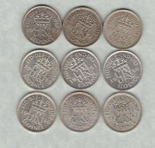 More details for 9 sixpences 1937/1937/1939/1940/1941/1942/1943/1945 & 1946 near mint condition