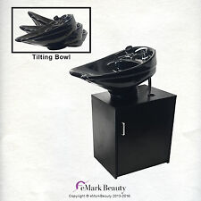 Tilting CERAMIC Shampoo Bowl on Black Floor Cabinet TLC-B07-TC
