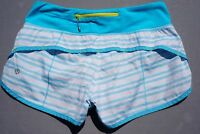 Lululemon Run Times shorts Lined,   Blue and White Woman's Size 6