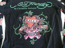 Ed Hardy Long Sleeve Top . Size S . Mutigraphic . Rhinestones . Logos