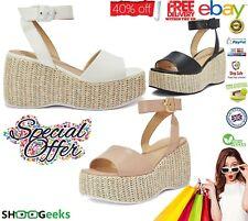 Para Mujer Correa De Tobillo Plataforma Sandalias de cuña de forma plana, señoras Cómodos Zapatos, cuñas