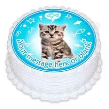cute cat kitten personalised round birthday cake topper icing