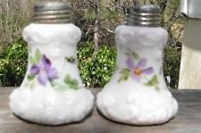 Vintage Custard Milk Glass Salt & Pepper Shaker Hand Painted Violets