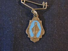 Antique Miraculous Mary Religious Metal Pendant Charm Pin Jewelry Italy Vintage